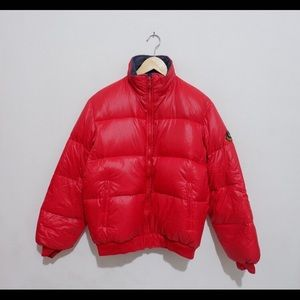Moncler x ASICS reversible red puffer jacket